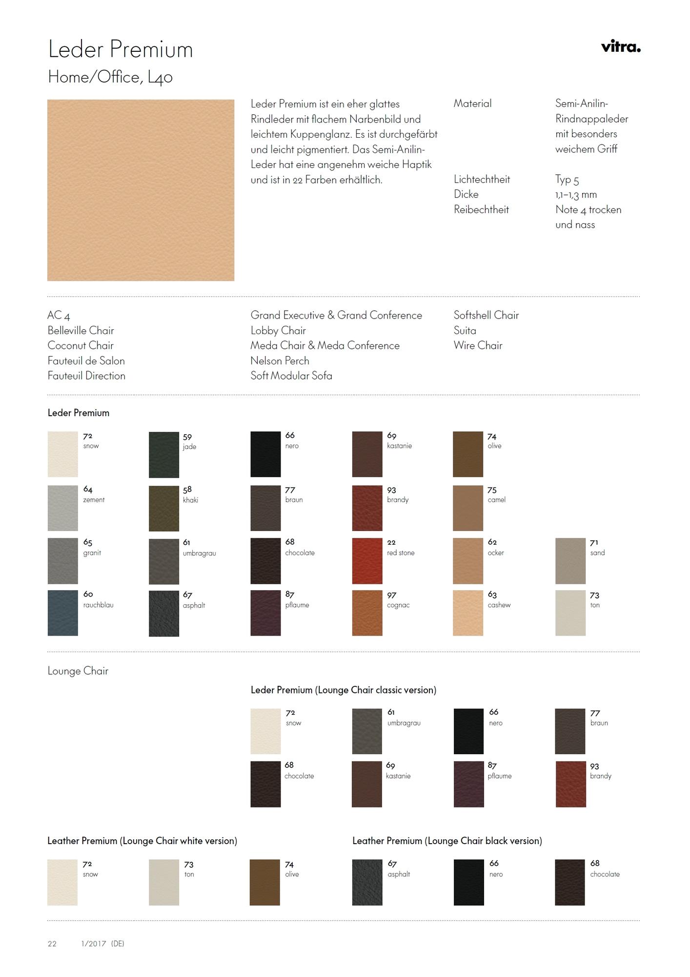 Carte de modèle en cuir Premium en cuir Vitra