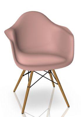 Eames Plastic Arm Chair DAW Chaise Vitra Frêne - Rose tendre