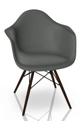 Eames Plastic Arm Chair DAW Chaise Vitra Érable foncé - Granite gris