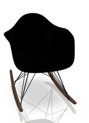 Eames Plastic Arm Rocking Chair chaise à bascule RAR Vitra Érable sombre - Noir - Deep black