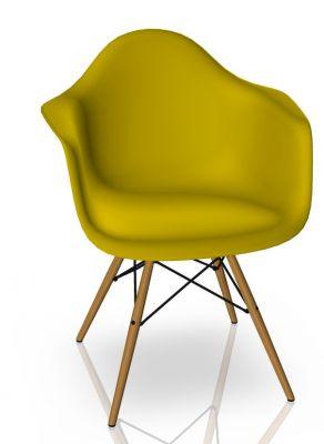 Eames Plastic Arm Chair DAW Chaise Vitra Frêne - Moutarde