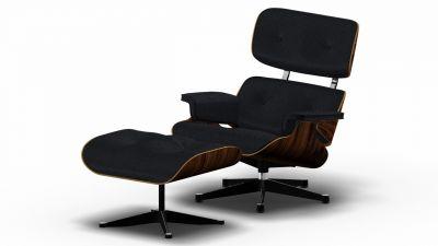 Eames Lounge Chair & Ottoman Sessel Vitra-Premium-nero-Santos-Palisander-seiten-schwarz