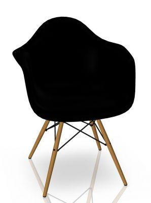 Eames Plastic Arm Chair DAW Chaise Vitra Frêne - Deep black