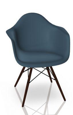 Eames Plastic Arm Chair DAW Chaise Vitra Érable sombre - Sea bleu