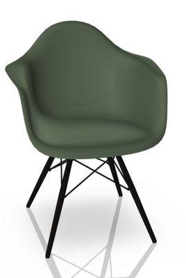 Eames Plastic Arm Chair DAW Chaise Vitra Noir d'érable - Forest