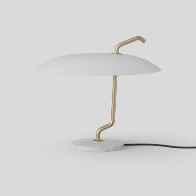 Model 537 Lampe de Table Structure Laiton Réflecteur Blanc Base Marbre Astep