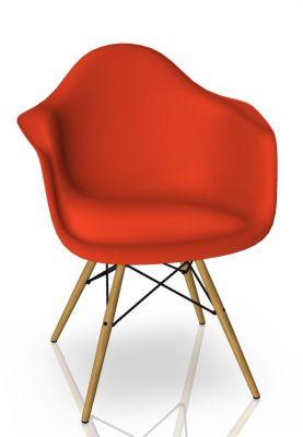 Eames Plastic Arm Chair DAW Chaise Vitra Érable jaunâtre - Poppy rouge