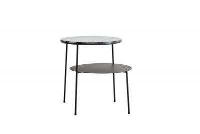 Duo Table d'appoint Noir avec Verre Fumé Foncé Woud