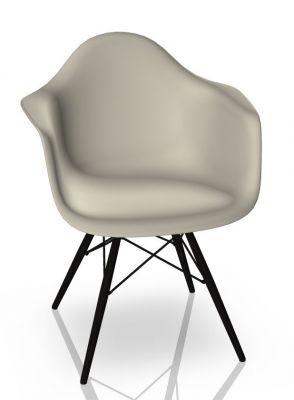 Eames Plastic Arm Chair DAW Chaise Vitra Noir d'érable - Caillou