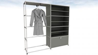 USM Haller garde-robe gris moyen avec des vêtements