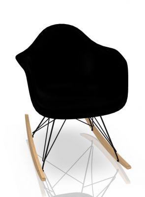 Eames Plastic Arm Rocking Chair chaise à bascule RAR Vitra Érable jaunâtre - Noir - Deep black