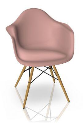 Eames Plastic Arm Chair DAW Chaise Vitra Érable jaunâtre - Rose tendre