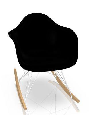 Eames Plastic Arm Rocking Chair chaise à bascule RAR Vitra Érable jaunâtre - Chromé - Noir