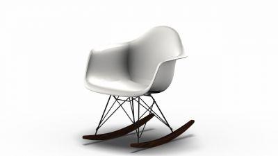 Eames Plastic Arm Rocking Chair chaise à bascule RAR Vitra Érable sombre-Noir-Blanc