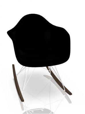 Eames Plastic Arm Rocking Chair chaise à bascule RAR Vitra Érable sombre - Chromé -Deep black