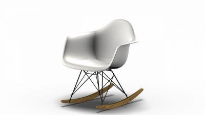 Eames Plastic Arm Rocking Chair chaise à bascule RAR Vitra Érable jaunâtre - Noir - Blanc