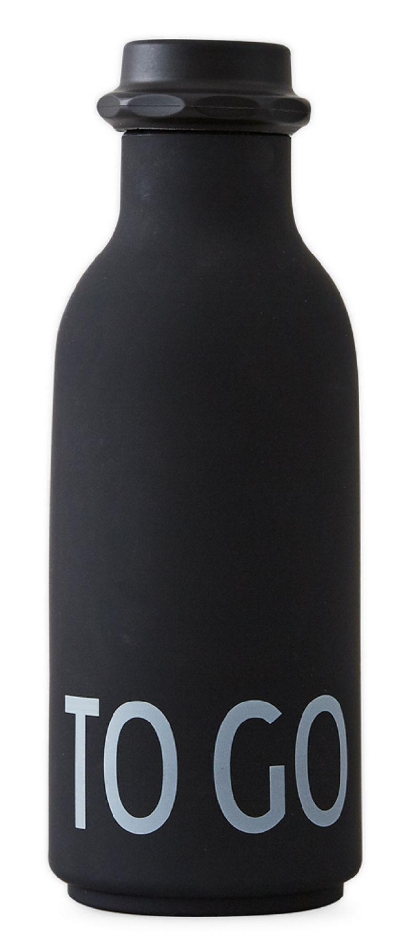 To Go Water Bottle Wasserflasche Design Letters-schwarz