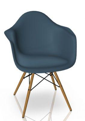 Eames Plastic Arm Chair DAW Chaise Vitra Frêne - Sea bleu
