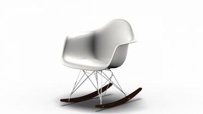 Eames Plastic Arm Rocking Chair chaise à bascule RAR Vitra Érable foncé - Chromé - blanc