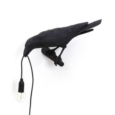 Bird Lamp Looking Left applique noir Seletti
