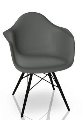 Eames Plastic Arm Chair DAW Chaise Vitra Noir d'érable - Granite gris