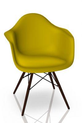 Eames Plastic Arm Chair DAW Chaise Vitra Érable foncé - Moutarde