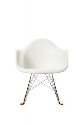 Eames Plastic Arm Rocking Chair chaise à bascule RAR Vitra Érable jaunâtre - Chromé - Blanc