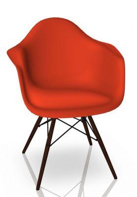 Eames Plastic Arm Chair DAW Chaise Vitra Érable foncé - Poppy red